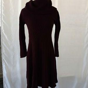 Eliza J Maroon Turtleneck Sweater Dress